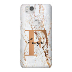 Personalised Cracked Marble Bronze Initials Google Pixel 2 Case