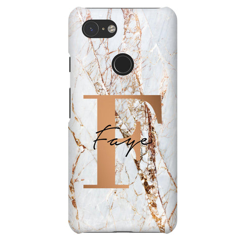 Personalised Cracked Marble Bronze  Initials Google Pixel 3 Case
