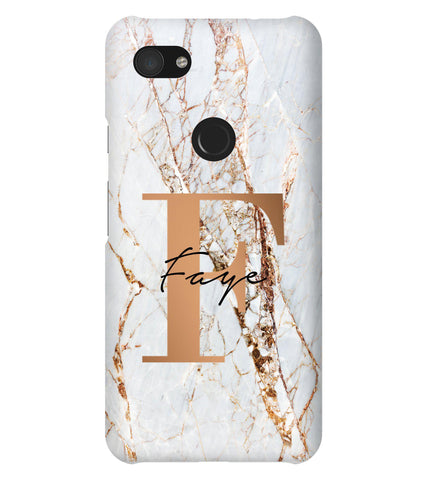 Personalised Cracked Marble Bronze Initials Google Pixel 3a XL Case