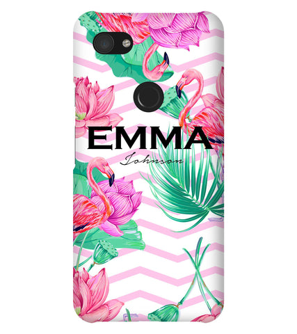Personalised Flamingo Name Google Pixel 3a XL Case