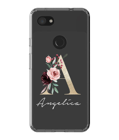 Personalised Floral Initial Name Google Pixel 3 XL Clear Case
