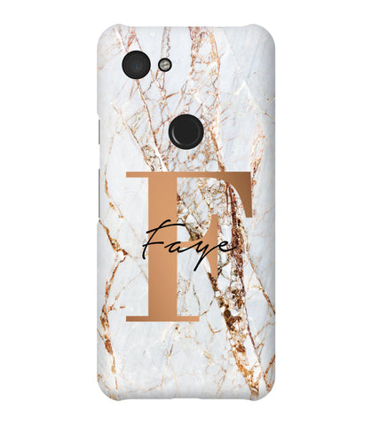Personalised Cracked Marble Bronze Initials Google Pixel 3a Case