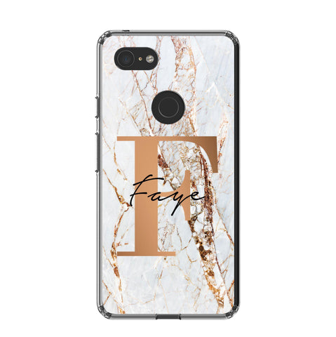 Personalised Cracked Marble Bronze Initials Google Pixel 3 XL Case
