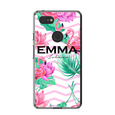 Personalised Flamingo Name Google Pixel 3 XL Case