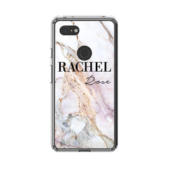 Personalised White Galaxy Marble Name Google Pixel 3 XL Case