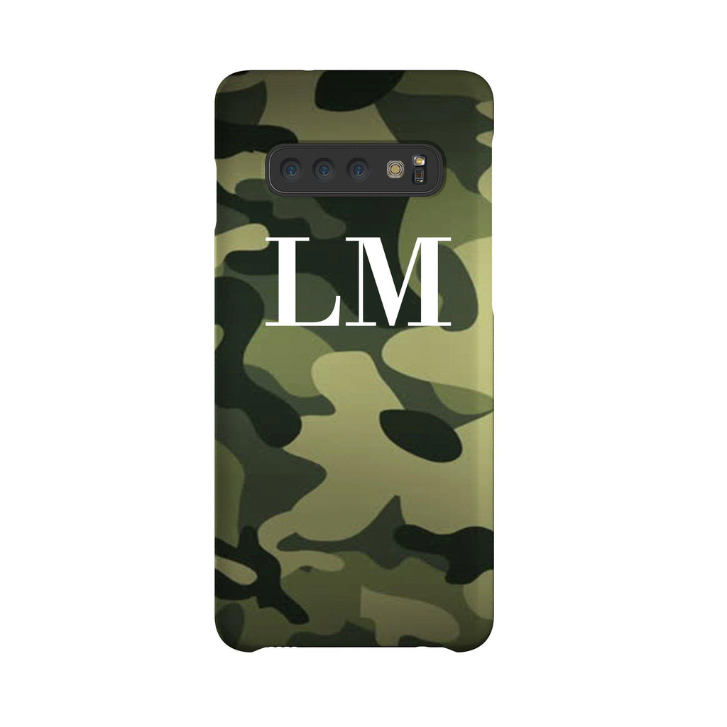 Personalised Green Camouflage Initials Samsung Galaxy S10 Plus Case
