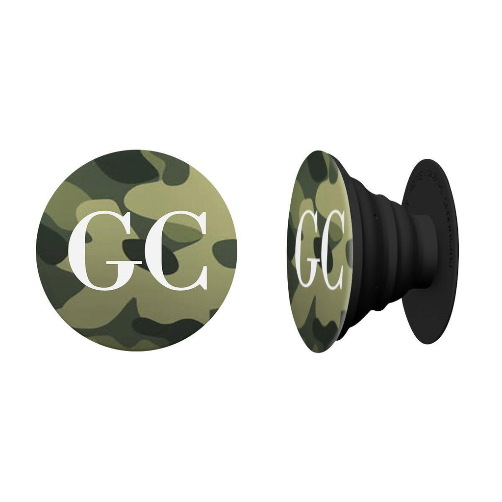 Personalised Green Camouflage Initials Phone Grip