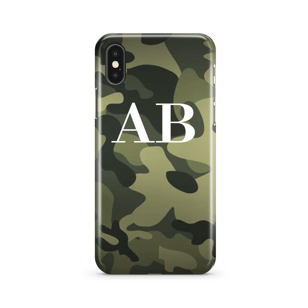 Personalised Green Camouflage Initials iPhone XS Max Case