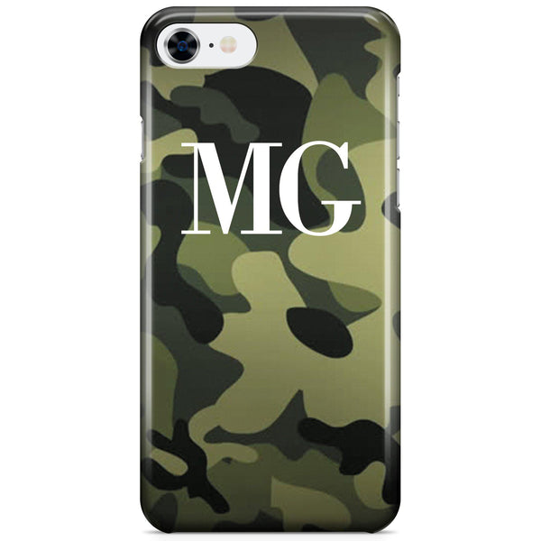 Personalised Green Camouflage Initials iPhone 8 Case