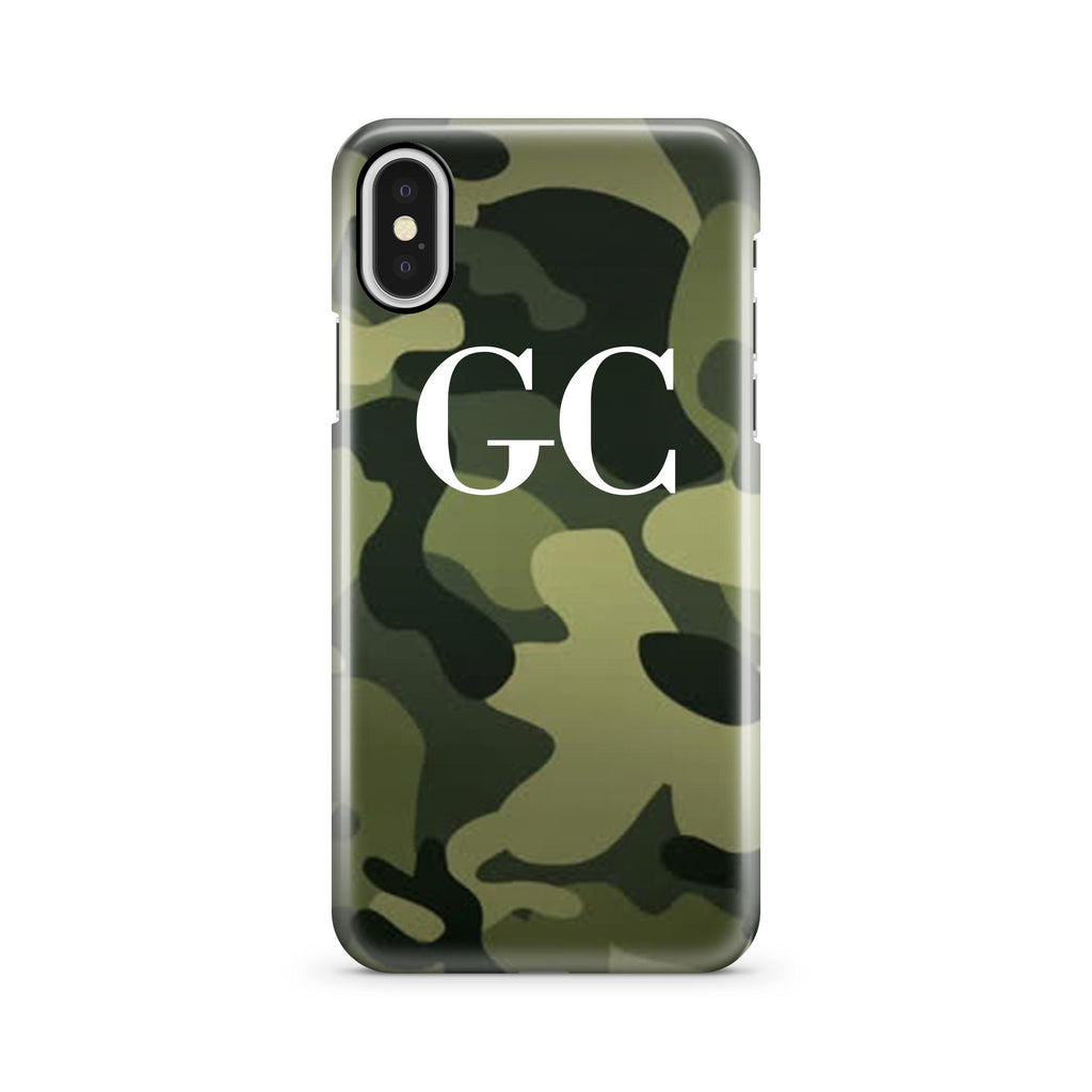 Personalised Green Camouflage initials iPhone X Case