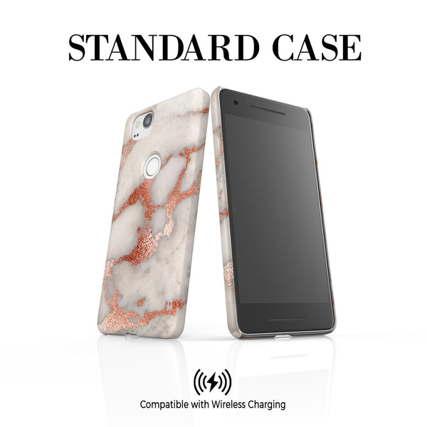 Personalised Grey x Rosegold Marble Google Pixel 2 Case