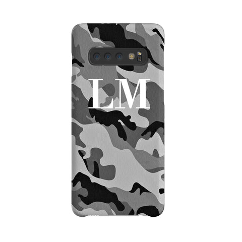 Personalised Grey Camouflage Initials Samsung Galaxy S10 Case