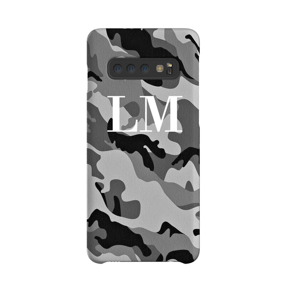 Personalised Grey Camouflage Initials Samsung Galaxy S10 Plus Case