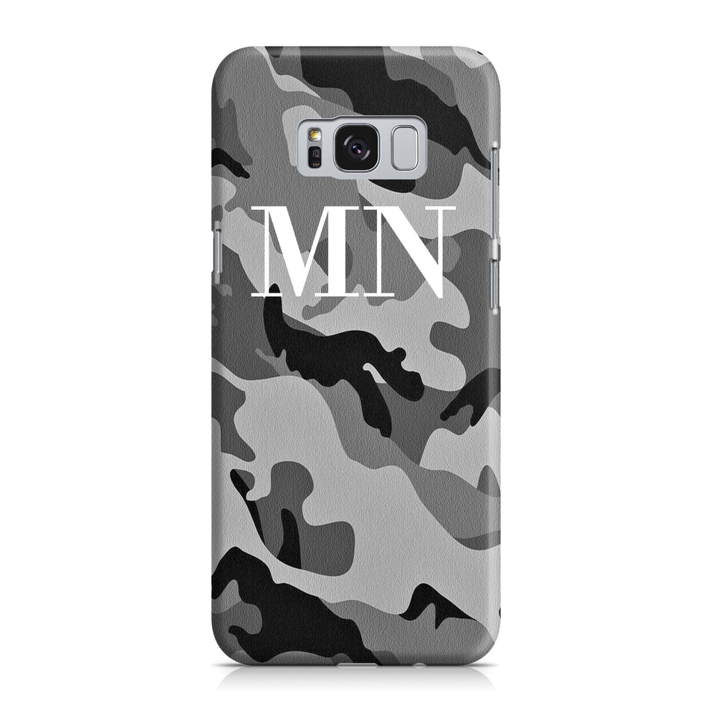 Personalised Grey Camouflage Initials Samsung Galaxy S8 Case