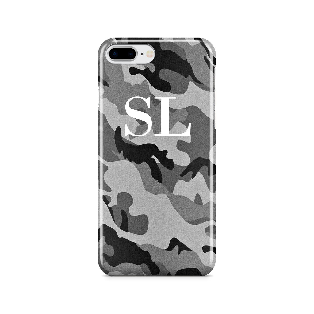 Personalised Grey Camouflage Initials iPhone 8 Plus Case