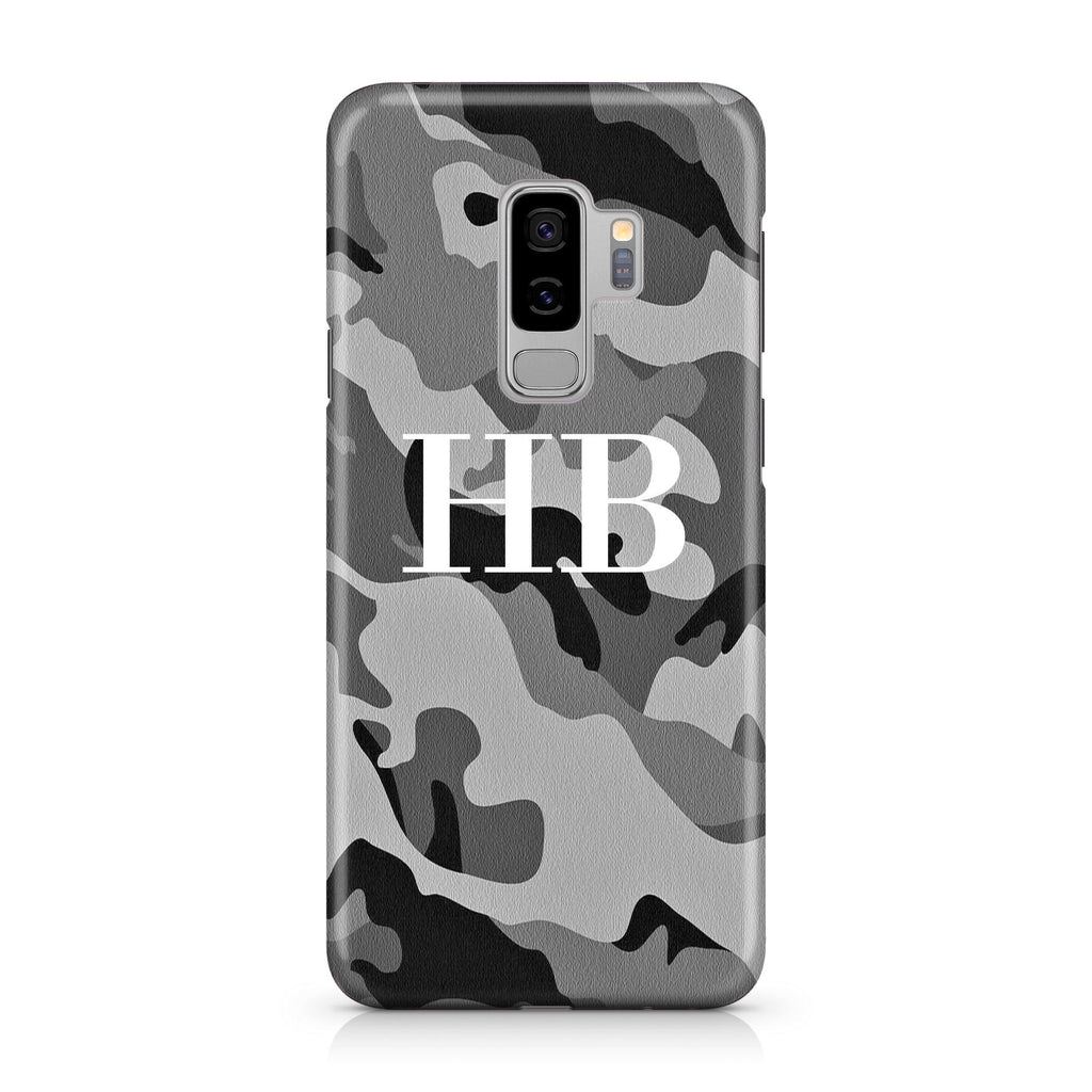 Personalised Grey Camouflage Initials Samsung Galaxy S9 Plus Case