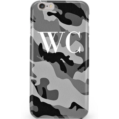 Personalised Grey Camouflage x White Initials Phone Case