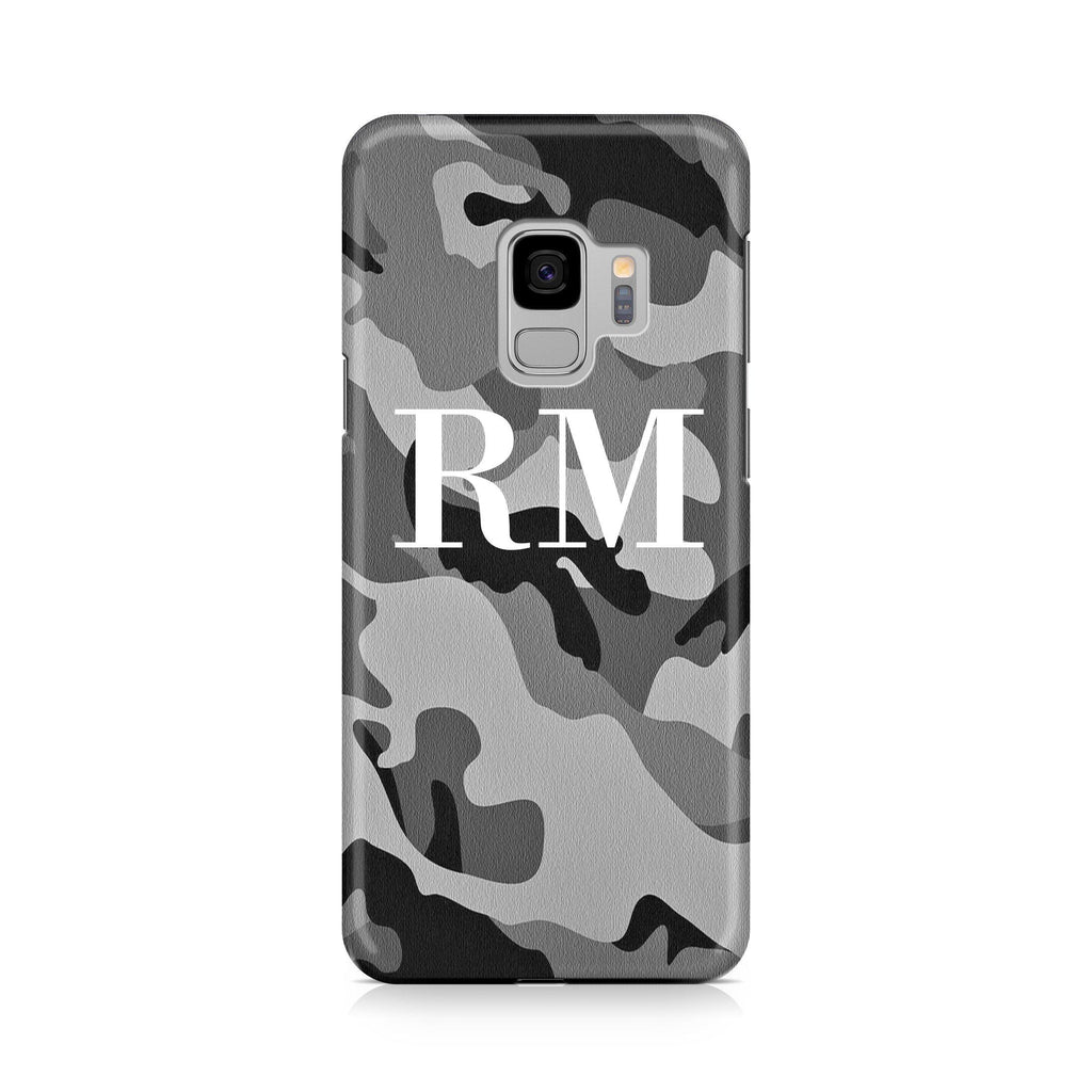 Personalised Grey Camouflage Initials Samsung Galaxy S9 Case