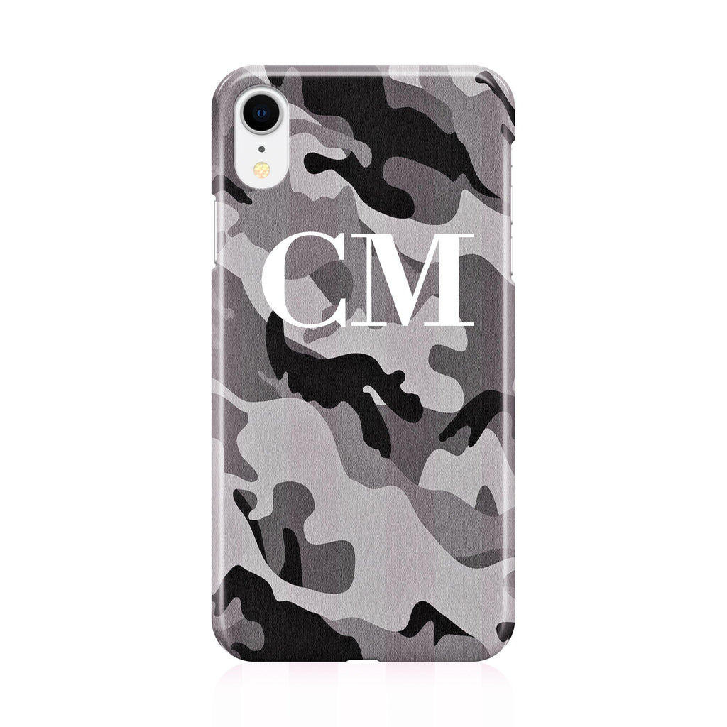 Personalised Grey Camouflage Initials iPhone XR Case
