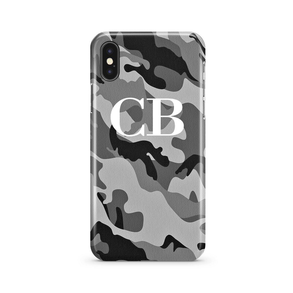 Personalised Grey Camouflage Initials iPhone XS Case