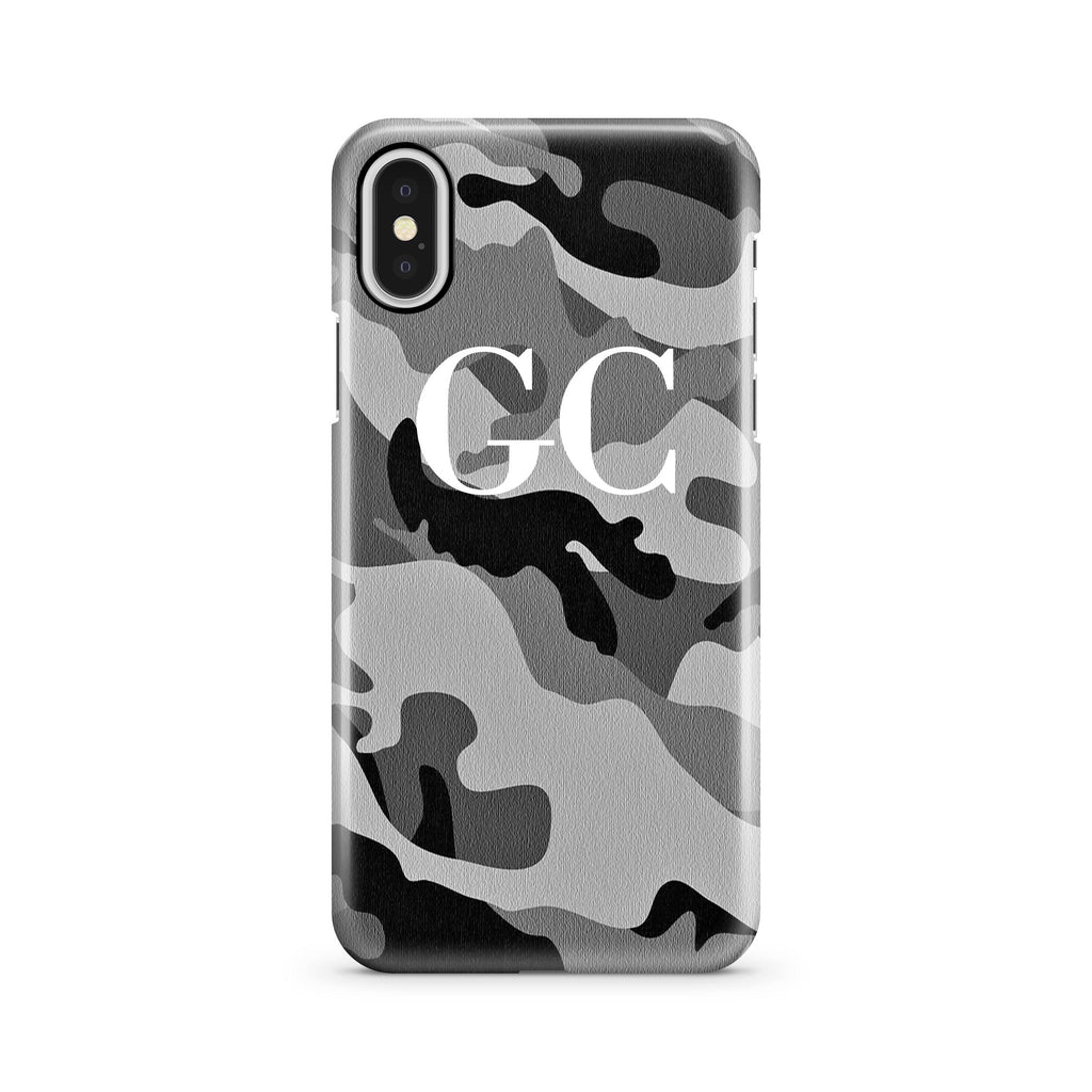 Personalised Grey Camouflage initials iPhone X Case