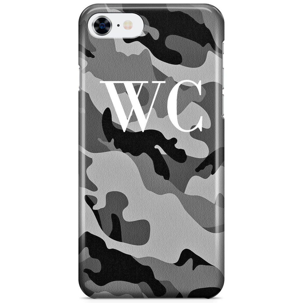 Personalised Grey Camouflage Initials iPhone 7 Case