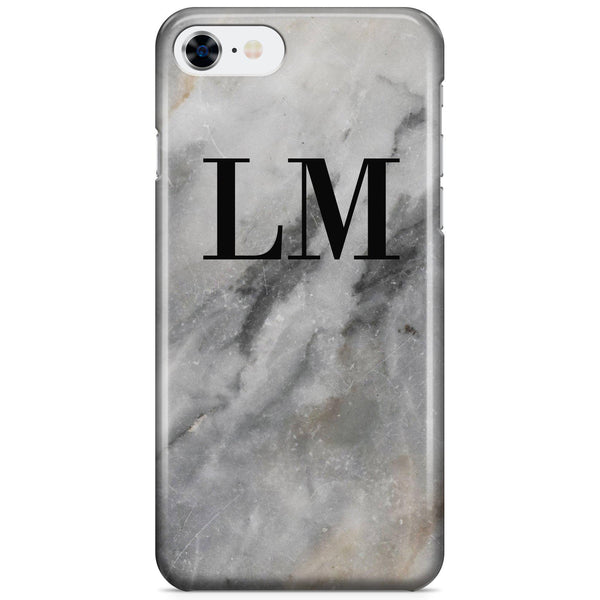 Personalised Grey Stone Marble Initials iPhone 7 Case