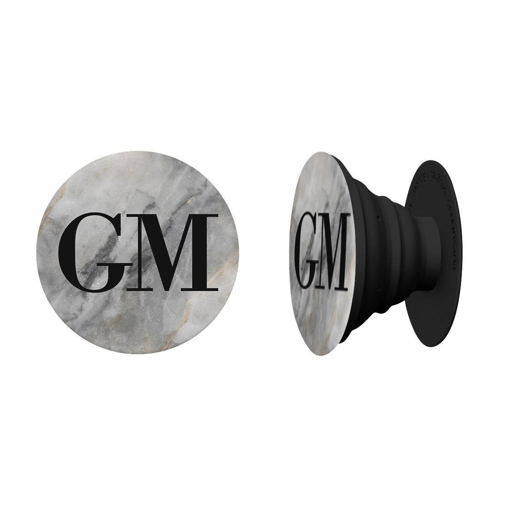 Personalised Grey Stone Marble Initials Phone Grip