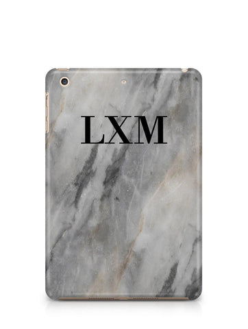 Personalised Grey Stone Marble Initials iPad Case