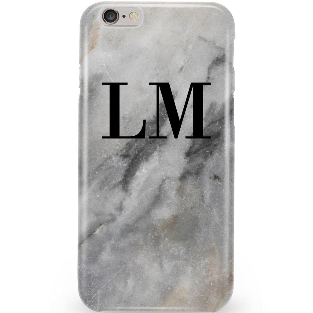 Personalised Grey Stone Marble Initials iPhone 6/6s Case