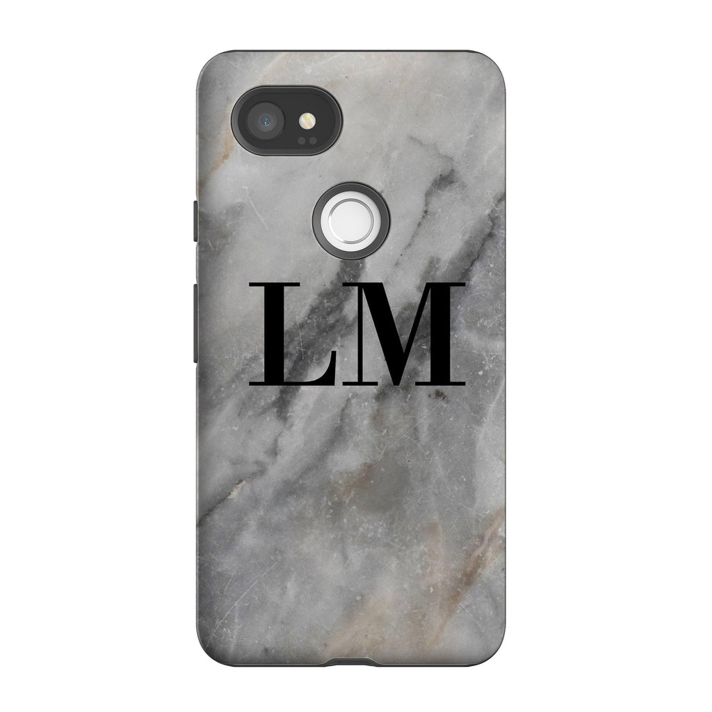 Personalised Grey Stone Marble Initials Google Pixel 2 XL Case