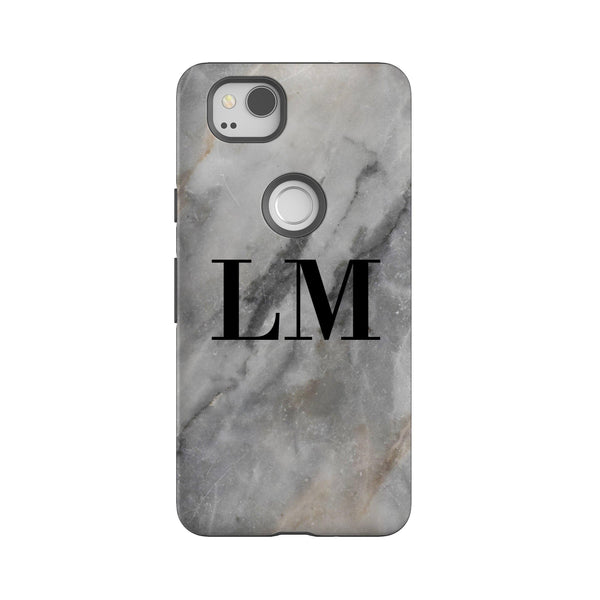 Personalised Grey Stone Marble Google Pixel 2 Case