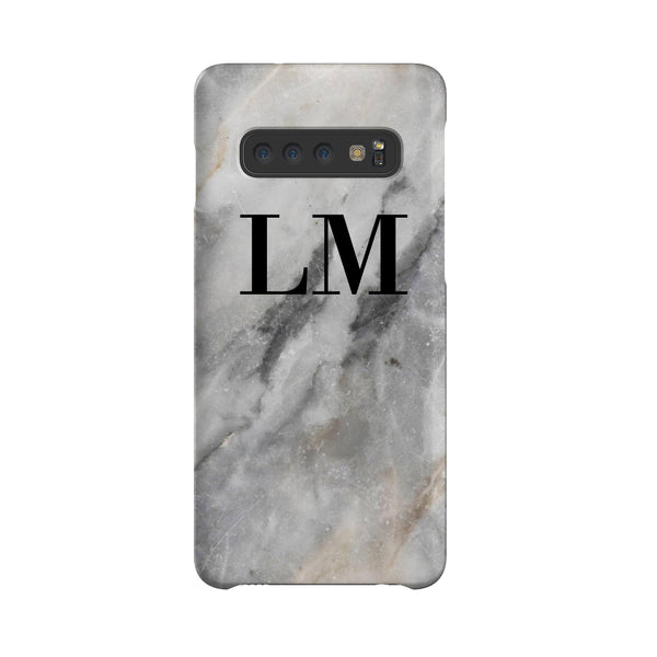 Personalised Grey Stone Marble Initials Samsung Galaxy S10 Plus Case