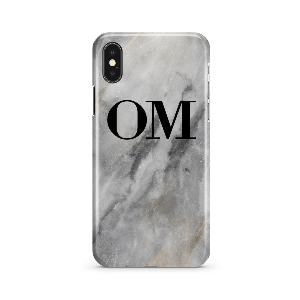 Personalised Grey Stone Marble Initials iPhone XS Max Case