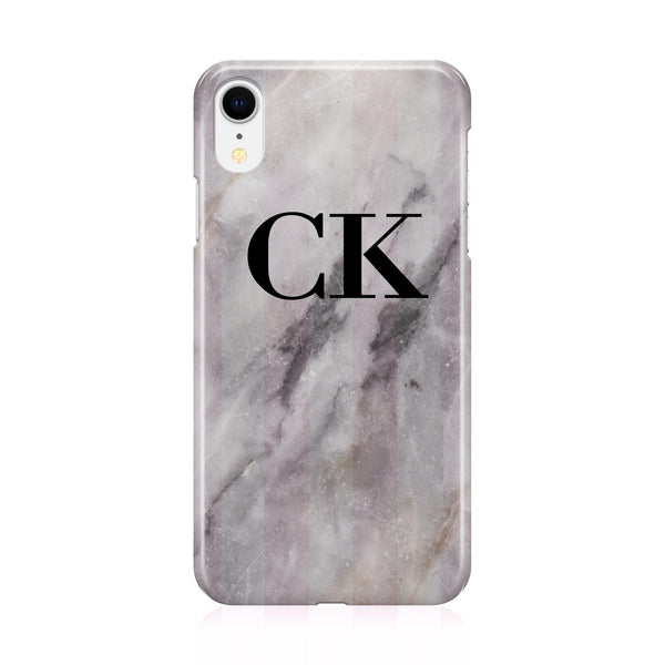 Personalised Grey Stone Marble Initials iPhone XR Case