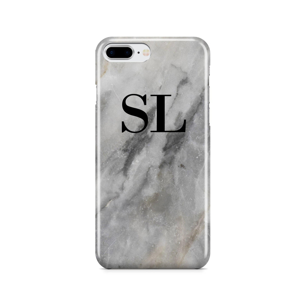 Personalised Grey Stone Marble Initials iPhone 7 Plus Case