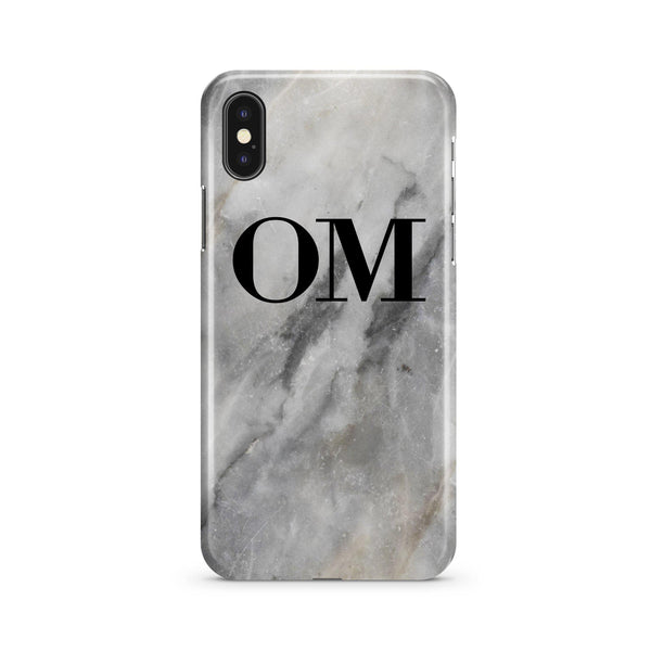 Personalised Grey Stone Marble Initials iPhone XS Case