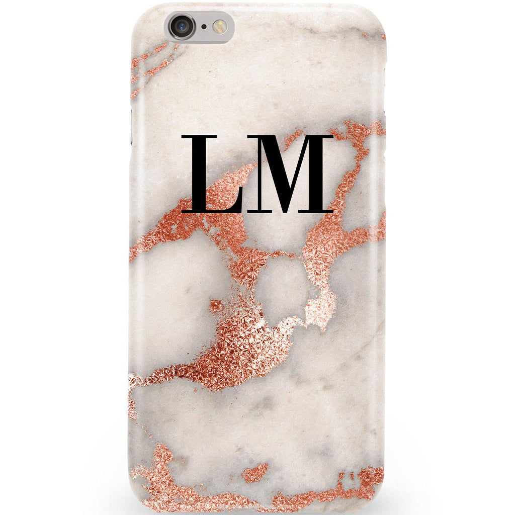 Personalised Grey x Rose Gold Marble Initials Phone Case