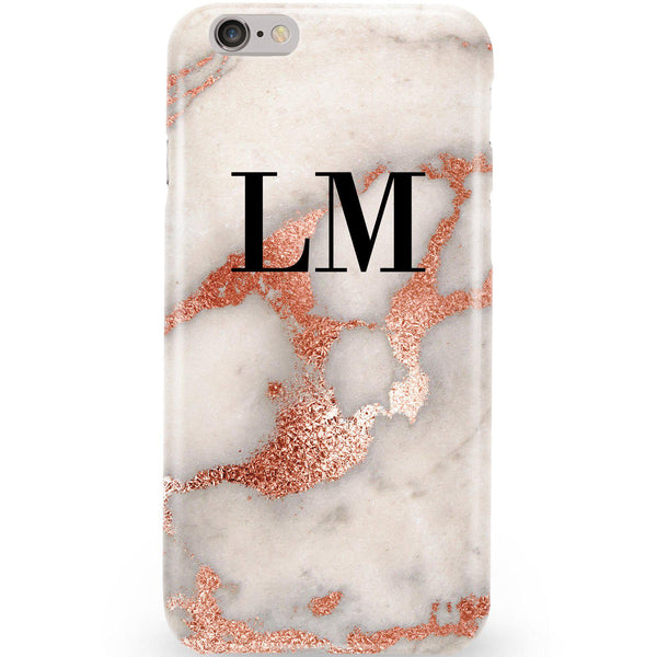 Personalised Grey x Rose Gold Marble Initials iPhone 6 Plus/6s Plus Case