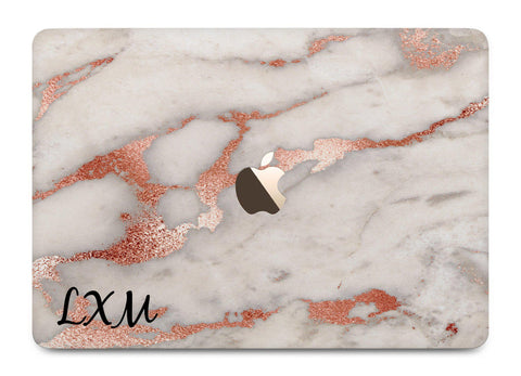 Personalised Grey x Rose Gold Marble Initials MacBook Case