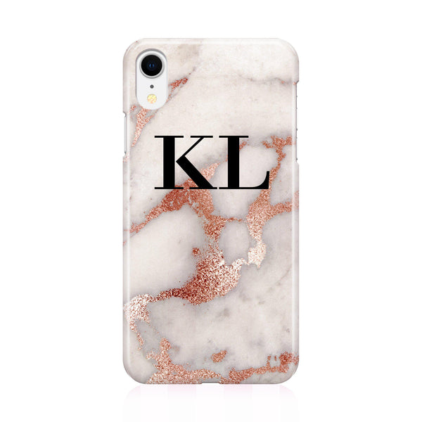 Personalised Grey x Rose Gold Marble Initials iPhone XR Case