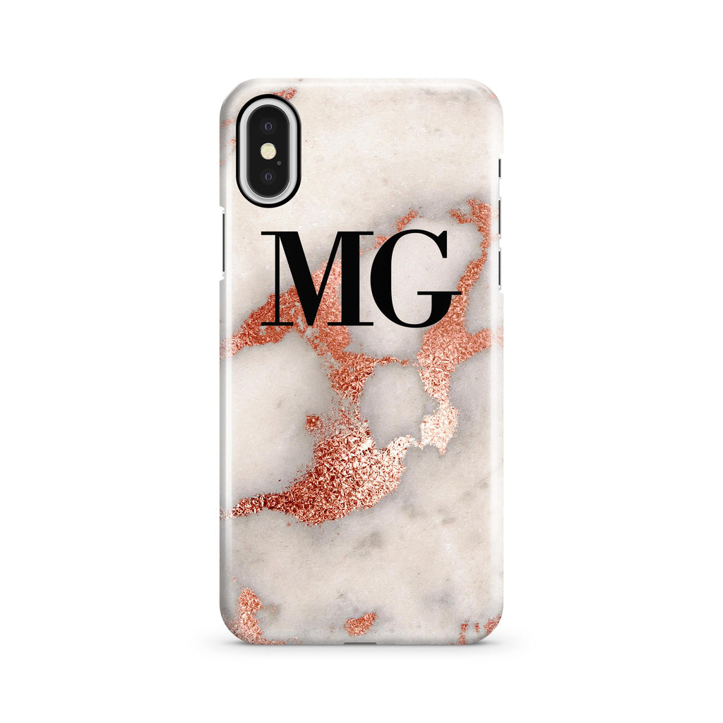 Personalised Grey x Rose Gold Marble initials iPhone X Case
