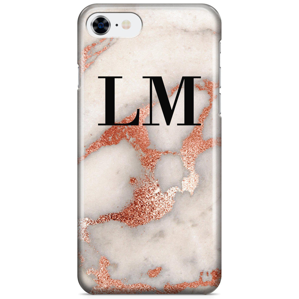 Personalised Grey x Rose Gold Marble Initials iPhone 8 Case