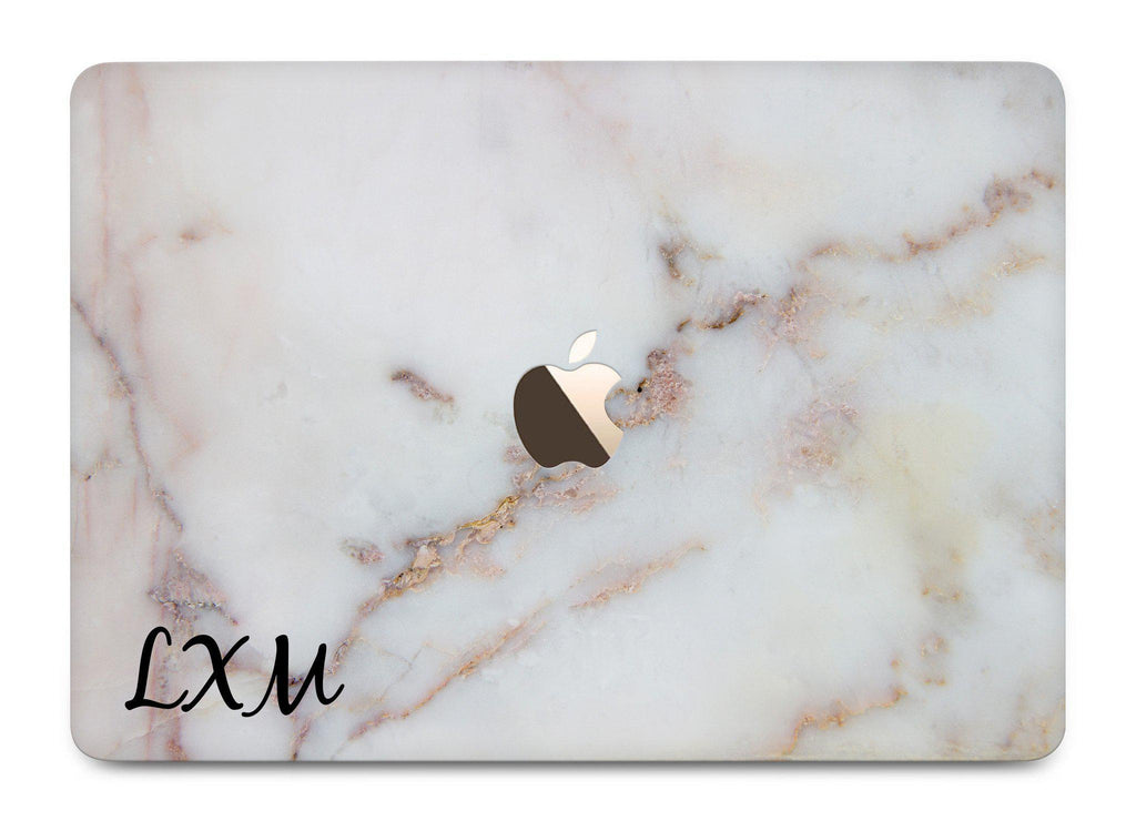 Personalised Gold Stained Marble Initials MacBook Case