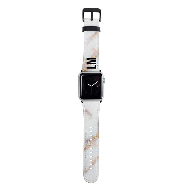 Personalised Gold Stained Marble Apple Watch Strap