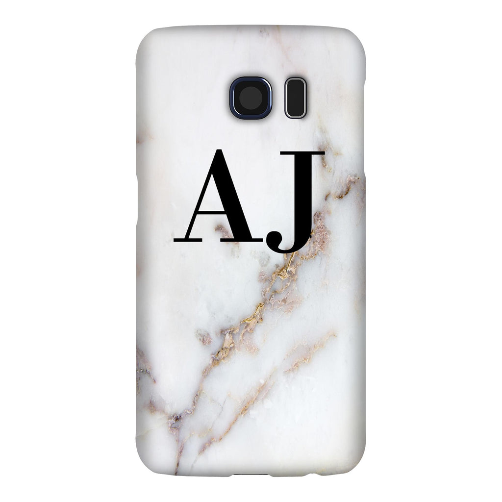 Personalised Gold Stained Marble Initials Samsung Galaxy S6 Case
