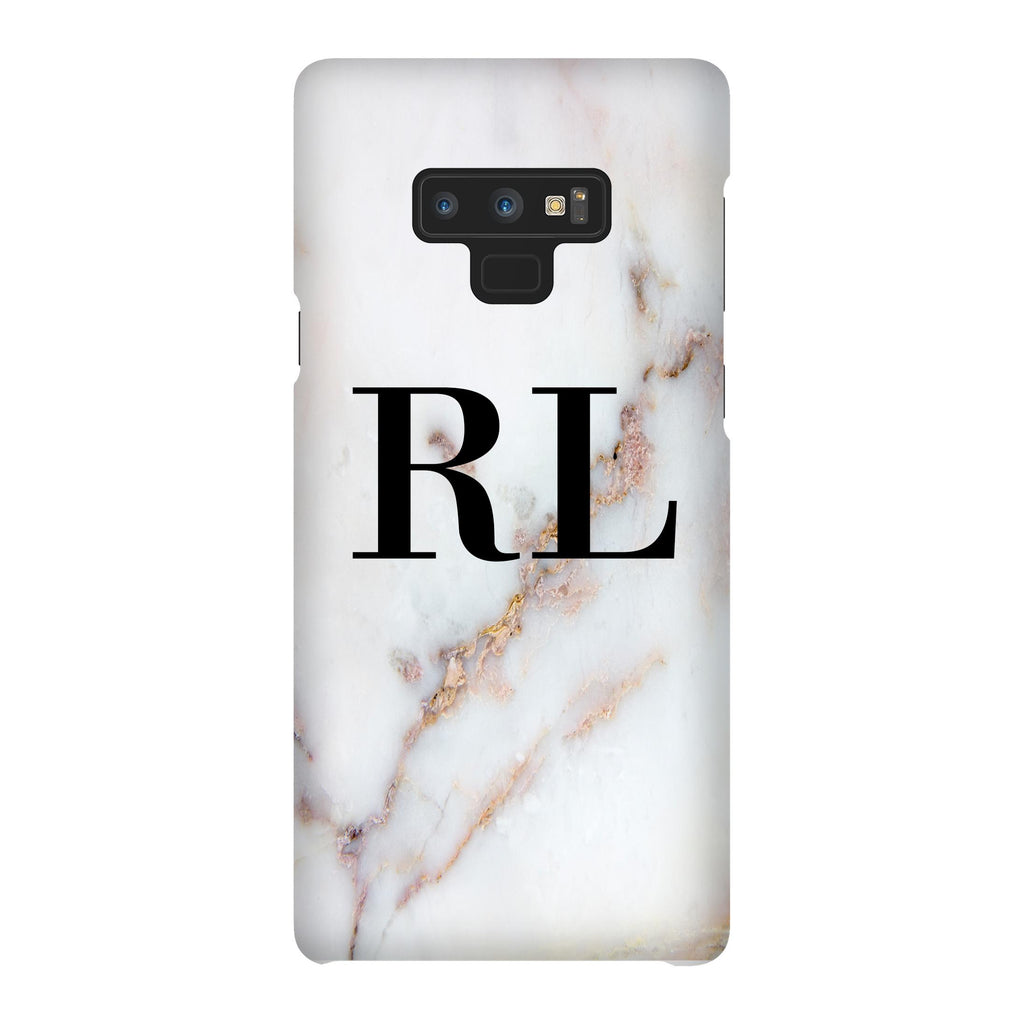Personalised Gold Stained Marble Initials Samsung Galaxy Note 9 Case