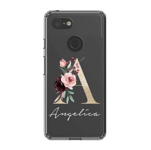 Personalised Floral Initial Name Google Pixel 3 Clear Case