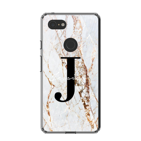 Personalised Cracked Marble Name Initials Google Pixel 3 XL Case