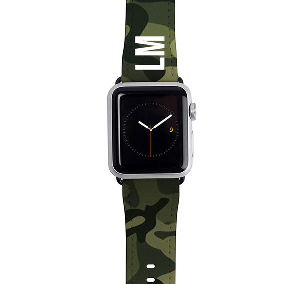 Personalised Green Camouflage Apple Watch Strap